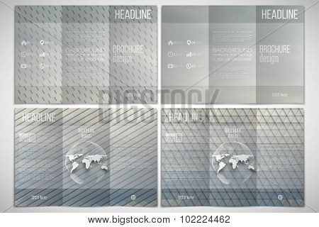 Vector set of tri-fold brochure design template on both sides with world globe element. Gray cloudy