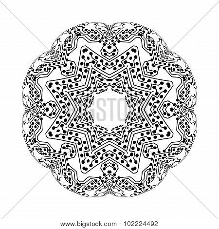 Round vector shape, technical construction with connected lines and dots, digital design pattern iso