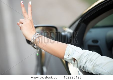 Young Driver Woman Hand