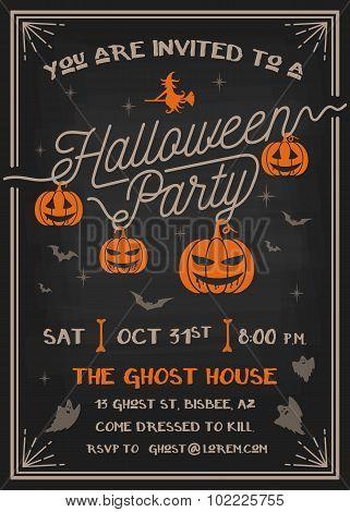 Typography Halloween Party Invitation Card Design