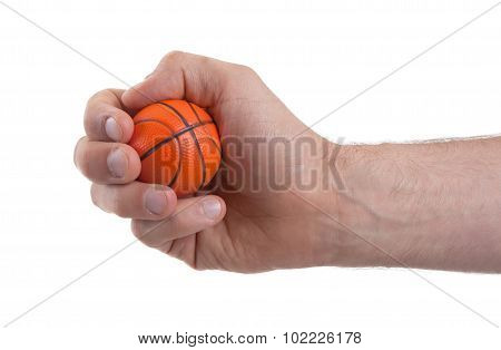 Isolated Hand With A Mini Basket Ball