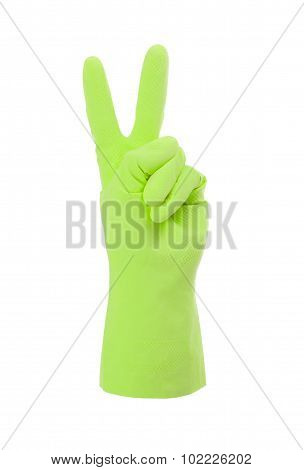Green Cleaning Glove, Victory Sign