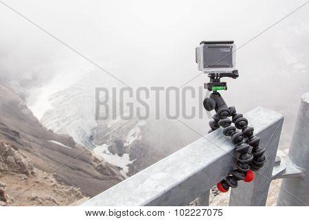 Les Diablerets, Switzerland - July 22, 2015: Closeup Of Gopro Hero 4 Camera On Gorillapod Tripod In