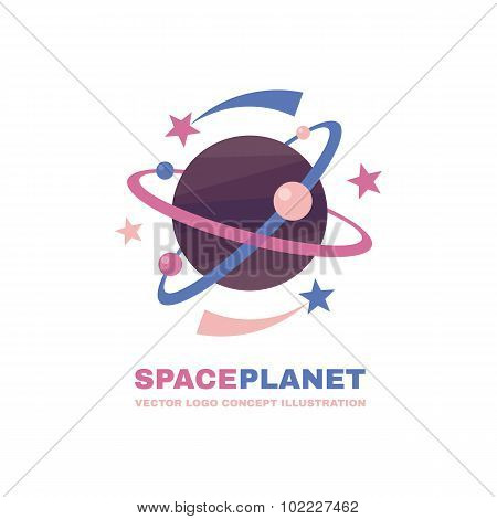 Spaceplanet - vector logo concept. Abstract planets illustration. Solar system concept illustration.