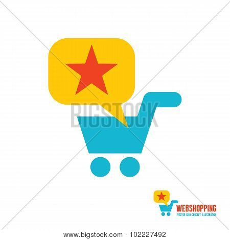 Web shopping - vector logo concept design. Basket logo. Basket cart, bubble and star illustration.
