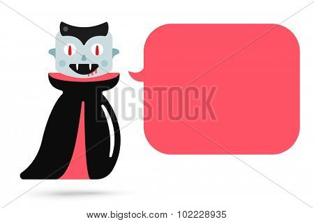 Monster halloween vampire cartoon characters isolated vector silhouette. Cartoon halloween monster vampire cartoon flat. Halloween dracula costume character, comic booble quote. Monster kids costume