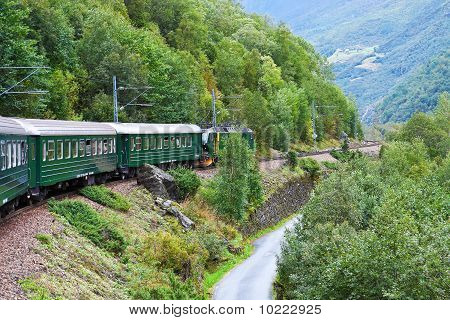By the train across Scandinavian mountains