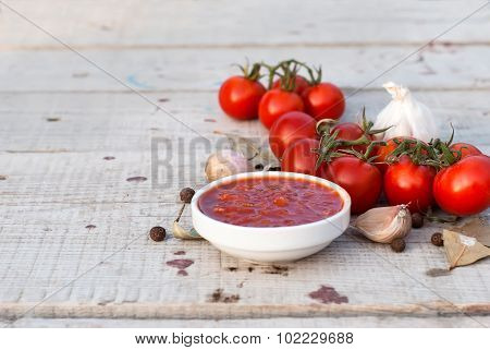 Home Adjika, Cherry Tomatoes, Garlic And Spices