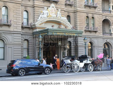Historical building horse carriage Melbourne Australia