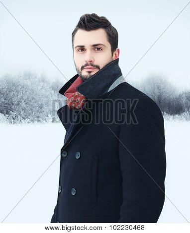 Fashion Portrait Handsome Bearded Man Wearing Black Coat In Winter Day