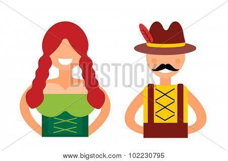 Vector illustration Oktoberfest german boy, girl abstract silhouette. Oktoberfest vector people set of german woman and man dressed in national costumes isolated. German oktoberfest people silhouette