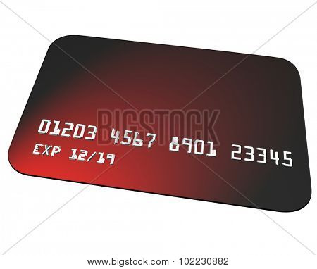 Red plastic credit card to use for buying goods or services at a store or restaurant or online ecommerce