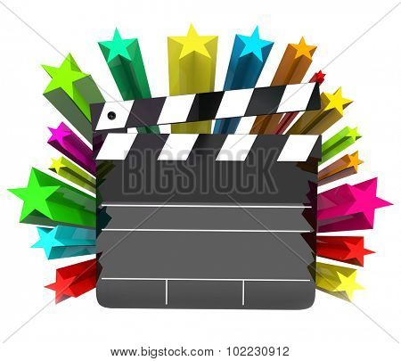 Movie clapper board with stars or fireworks to illustrate Hollywood film making and entertainment