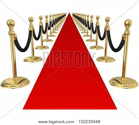 Red carpet and line of gold stanchions with velvet ropes to illustrate welcome, arrival or invitation to an important, exclusive vip party or event