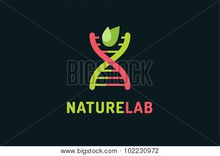 DNA vector logo. Technology biology DNA vector icon. DNA laboratory sign. Symbol of technology DNA chain isolated. DNA abstract silhouette leaves eco nature product. Leaves eco icon