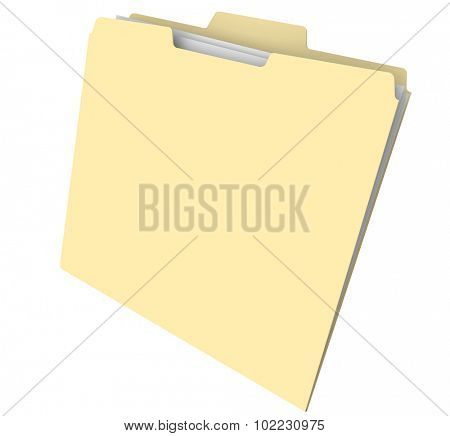 Blank manila folder with files or documents inside for an archive or histroy