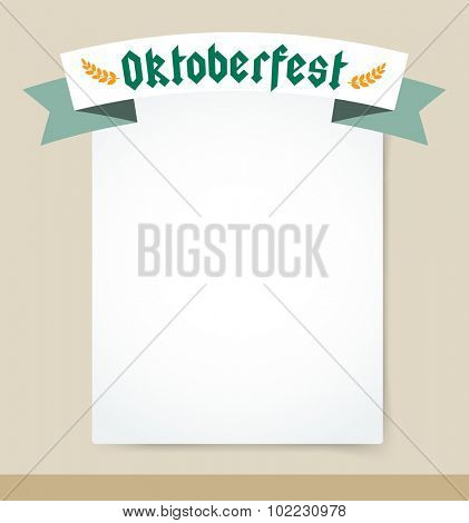 Oktoberfest celebration vector background poster. Oktoberfest vector illustration background with text. Beer Oktoberfest German festival vector background. Keg of beer, bottle beer box