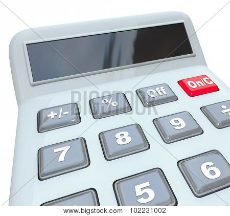 Calculator with blank copy space for your message on a digital display for learning how to add, subtract, multiply and divide numbers