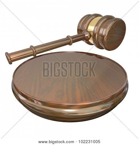 A wooden gavel and block used by a judge to announce a decision or court case verdict or settlement