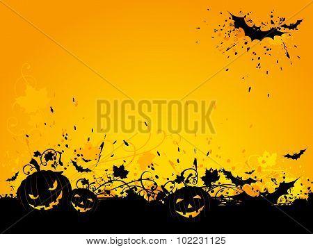Halloween Grunge Background With Bats And Jack-o-lanterns.