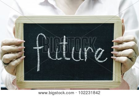 Future Word Written On Blackboard/chalckboard
