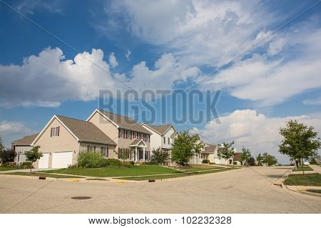 Suburban neighborhood in the summer.