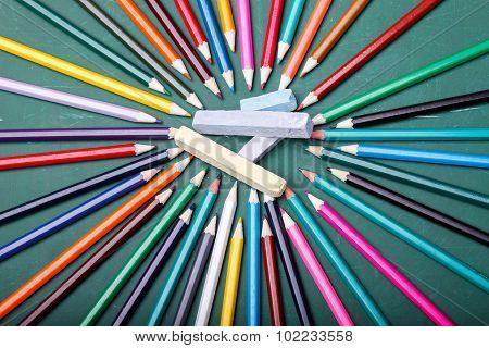 Pencils Around Chalk