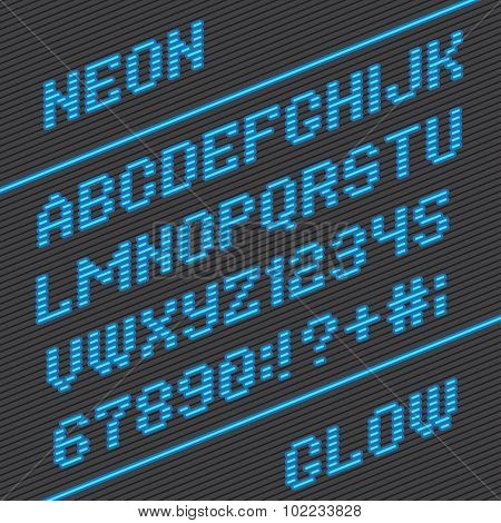 Alphabet font and numbers from neon stripe lines