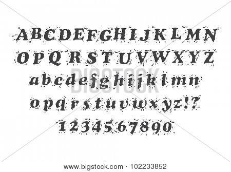 Liquid Splash Font and Numbers Set