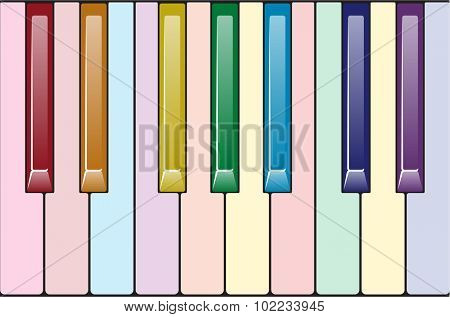 Rainbow piano keyboard