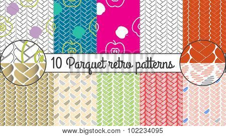 Vector seamless pattern set. Parquet retro background