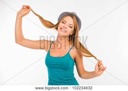 Funny Girl Fooling Around With Her Hair