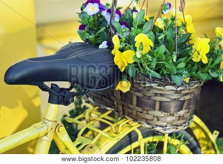 Yellow Bicycle Decorated With Flowers