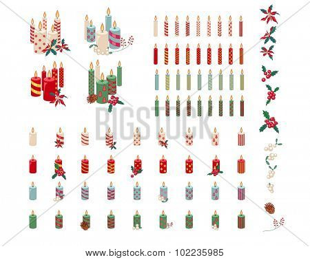 Set of different candles with Christmas decoration isolated on white