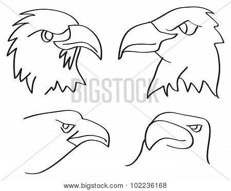 Eagle Heads Closeup Line Art Vector Illustration