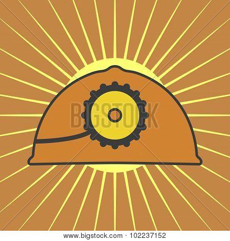 Vector Orange Mine Helmet With A Lamp