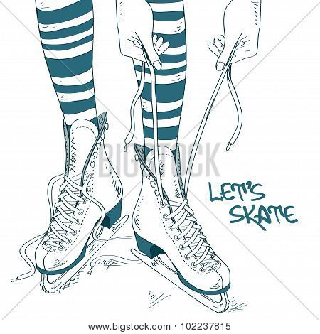 Illustration With Female Legs In Skates.