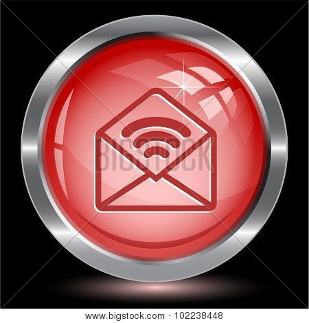 open mail with sound. Internet button. Vector illustration.