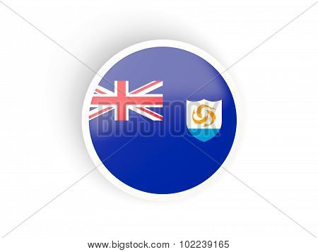 Round Sticker With Flag Of Anguilla