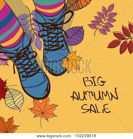 Autumn Sale Illustration With Girls Feet In Boots.
