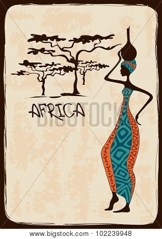 Illustration With Beautiful African Woman.