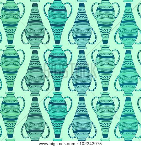 Seamless Pattern Of Ornate Vases