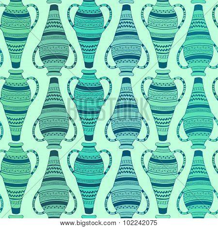 Seamless Pattern Of Ornate Vases