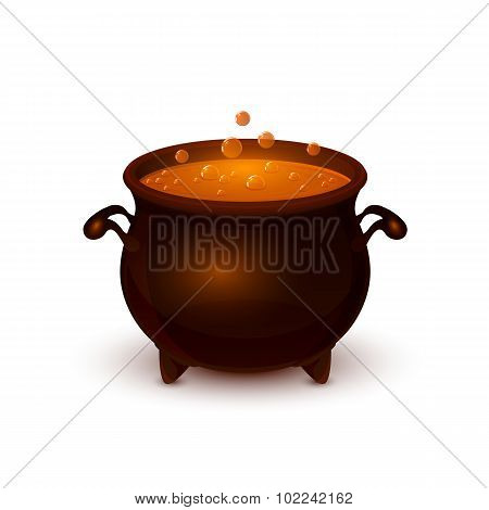 Halloween Pot With Potion And Bubble