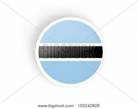 Round Sticker With Flag Of Botswana
