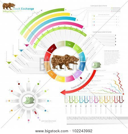 stock exchange infographic with bear.business template.diagram, number options, web design, months