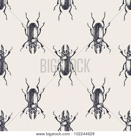 Beetles vintage seamless pattern