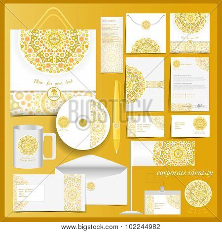 White corporate identity template with yellow mosaic elements.Vector company style for brandbook and guideline.