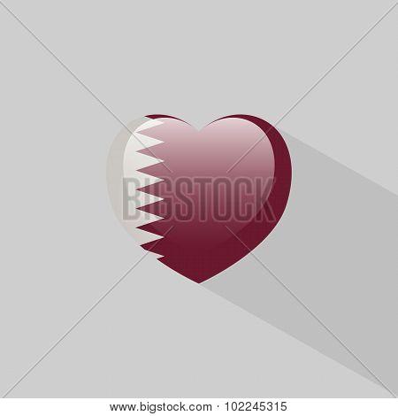 Love Qatar Symbol With Shadow