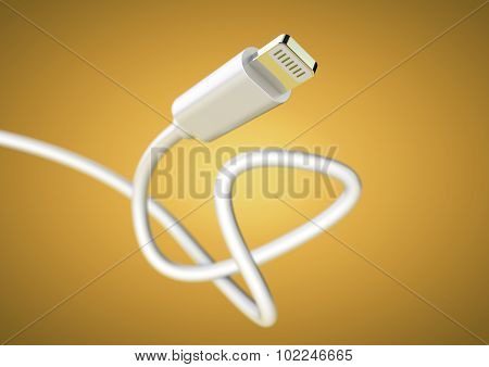 Lightening Plug Data Cable At Camera With Large Depth Of Field.